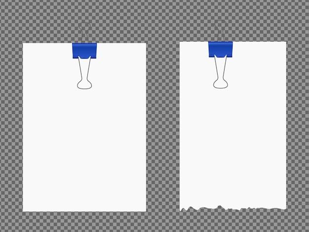 Satz papierblätter a4, a5 mit schatten, realistische papierseite