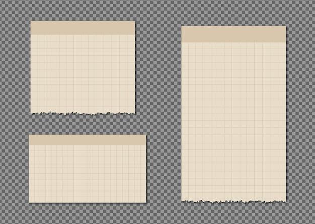 Satz papierblätter a4, a5 mit schatten, realistisches papierseitenmodell.