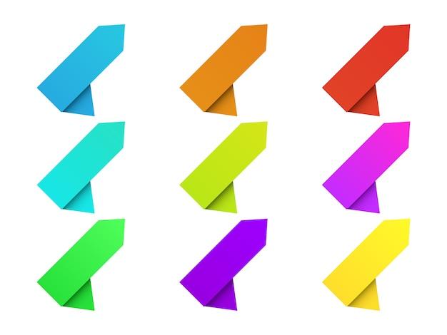 Satz papierfahnen isoliert