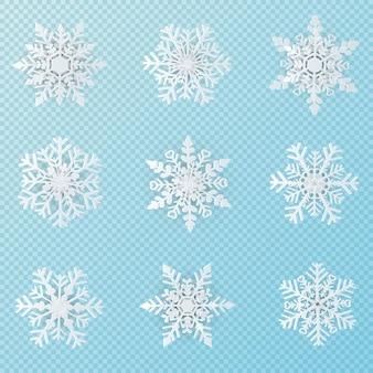 Satz papierkunst mit 9 schneeflocken der weißen weihnacht auf transparentem