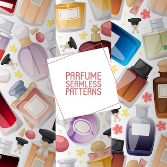 Satz parfümflaschen mit den blumen eingestellt von den nahtlosen mustern