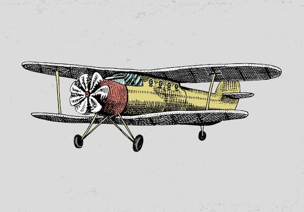 Satz passagierflugzeuge maiskolben oder flugzeugluftfahrtreiseillustration. gravierte hand gezeichnet im alten skizzenstil, vintage transport.