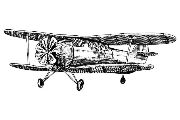 Satz passagierflugzeuge maiskolben oder flugzeugluftfahrtreiseillustration. gravierte hand gezeichnet im alten skizzenstil, weinlesetransport.