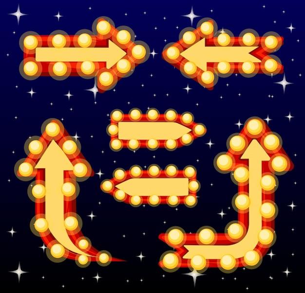 Satz pfeilzeichen mit glühbirnen der glühbirnen der glühbirnen mit retro-bannersammlungsillustration der lampen auf der nachthimmel-hintergrundwebsite-seite und der mobilen app