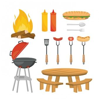 Satz picknickentspannung mit lebensmittel und gegrilltem snack