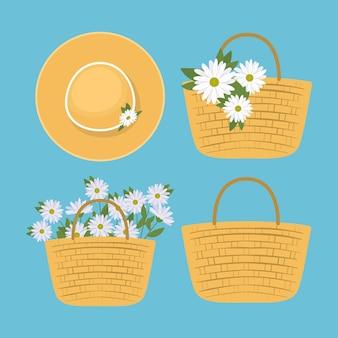 Satz picknickkörbe mit weißen blumen und niedlicher hutillustration