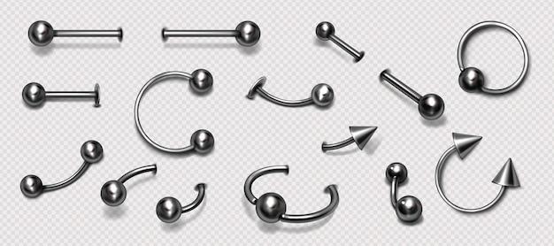 Satz piercingschmuck metall piercing ringe langhantel mit kugeln und zapfen isoliert