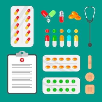 Satz pillen und kapseln. arztausrüstung und symbole der medizin. apotheken- und arzneimittelsymbole.