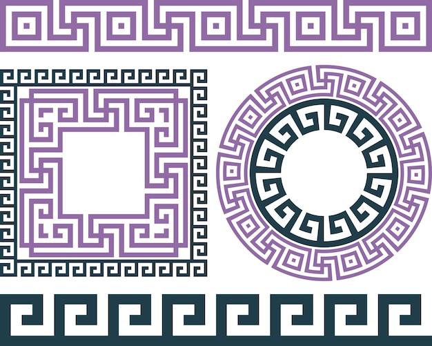 Satz pinsel zum erstellen der griechischen mäandermuster sowie runde und quadratische rahmen.