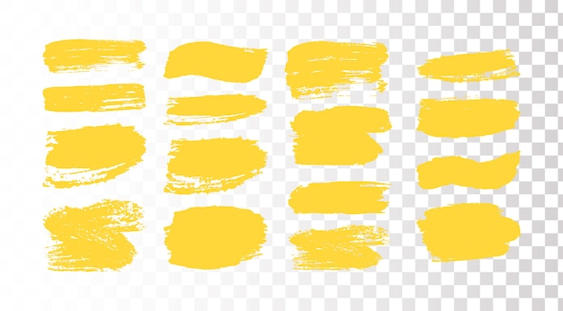 Satz pinselstriche. grunge designelemente. goldene farbe, tinte, pinsel, linien, schmuddelig. schmutzige künstlerische kisten, rahmen. goldlinien isoliert. abstrakte goldglitzernde strukturierte kunstillustration.