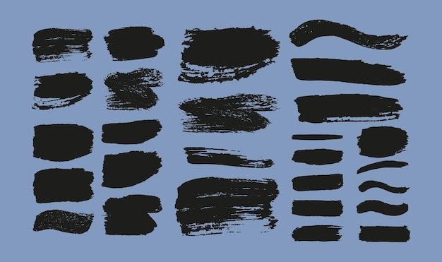 Satz pinselstriche. grunge designelemente. schwarze farbe