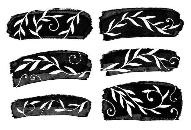 Satz pinselstriche. grunge elemente des designs. zeichnungsillustration.
