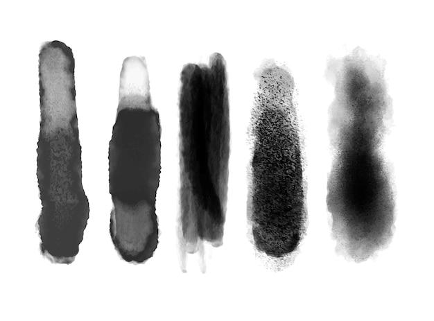 Satz pinselstriche in schwarz