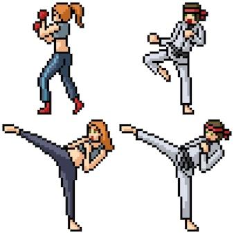 Satz pixelkunst-kampfkunstkämpfer lokalisiert auf weiß