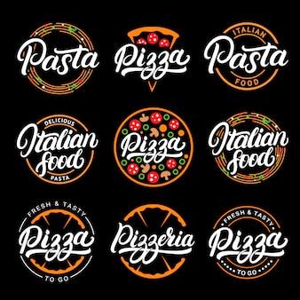 Satz pizza, nudeln, pizzeria und handgeschriebene schriftzuglogos des italienischen essens