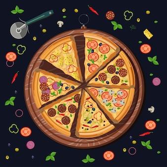 Satz pizzastücke auf dem brett und den lebensmittelbestandteilen