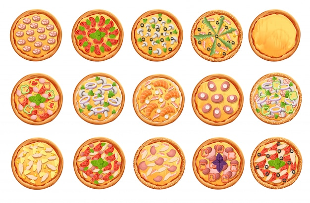 Satz pizzasymbole auf weißem pizza-draufsichtsatz. website-seite und mobiles app-element.