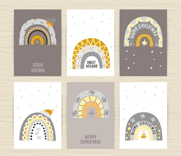 Satz plakate mit festlich glänzenden regenbogen und inschriften. perfekt für kinderzimmer, einladungskarten, poster und wanddekorationen