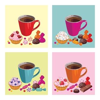 Satz plakate mit tasse tee und süßigkeiten.