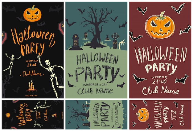 Satz plakate und flyer für die halloween-party. kürbisse, skelette, friedhof und andere halloween-symbole. schablonenillustration.