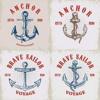 Satz plakatvorlagen mit ankern. elemente für logo, etikett, emblem, zeichen. illustration
