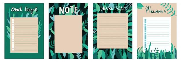 Satz planer und aufgabenliste mit einfachem skandinavisch mit blattillustrationen und trendigem schriftzug. vorlage für tagesordnung, planer, checklisten und anderes briefpapier. isoliert. hintergrund