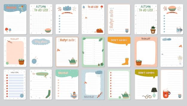 Satz planer und aufgabenliste mit einfachen skandinavischen illustrationen und trendigen schriftzügen.