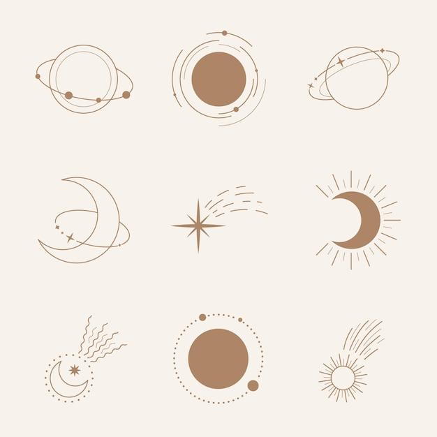 Satz planeten und kometen isoliert auf beige