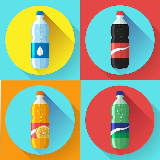 Satz plastikflasche der bilder coca cola, sprite, flache vektorillustration des orange sodas der fantasie