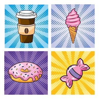 Satz plastikkaffee mit eiscreme und donut mit süßer süßigkeit