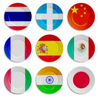 Satz platten mit den flaggen lokalisiert auf weiß