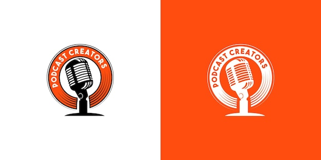 Satz podcast-logo-design-konzept