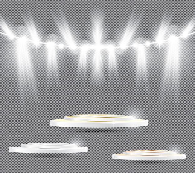 Satz podium auf transparentem hintergrund mit scheinwerfern