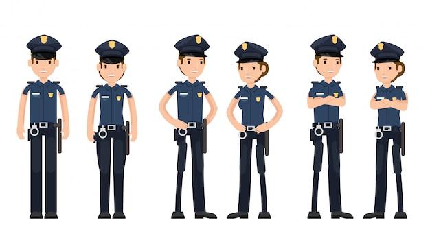 Satz polizeibeamten mit der waffe