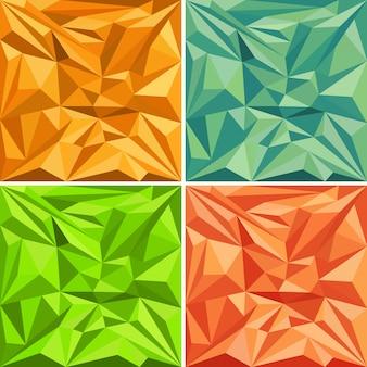 Satz polygonale vektormusterhintergründe der dreiecke in den verschiedenen farben
