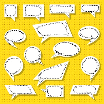 Satz pop-art-sprechblasen. sammlung von retro-comic-sprechblasen