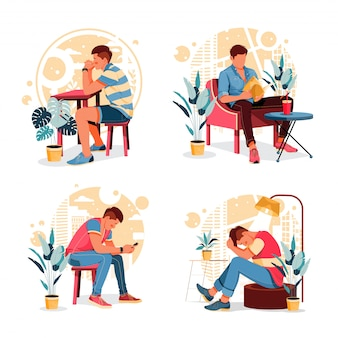 Satz porträt der aktivitäten des menschen. denken, lesen, plaudern, stress. flaches designkonzept. illustration