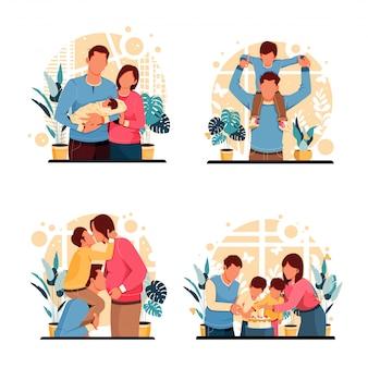 Satz porträt der familienglücksaktivitäten. flaches designkonzept. illustration