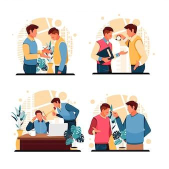 Satz porträts von wütenden chefs zu mitarbeitern. flaches designkonzept. illustration