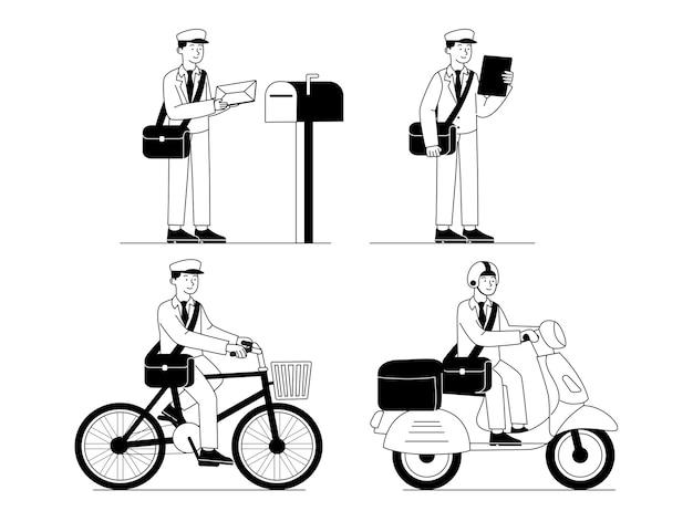 Satz postbote auf schwarzer weißer umriss-flacher illustration