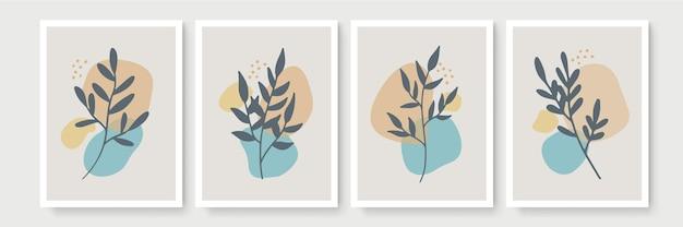 Satz poster im minimalen boho-stil mit tropischem blatt. moderne abstrakte wanddekoration mit laublinienkunstzeichnung