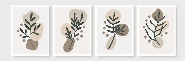 Satz poster im minimalen boho-stil mit tropischem blatt. moderne abstrakte wanddekoration mit laublinienkunstzeichnung Premium Vektoren