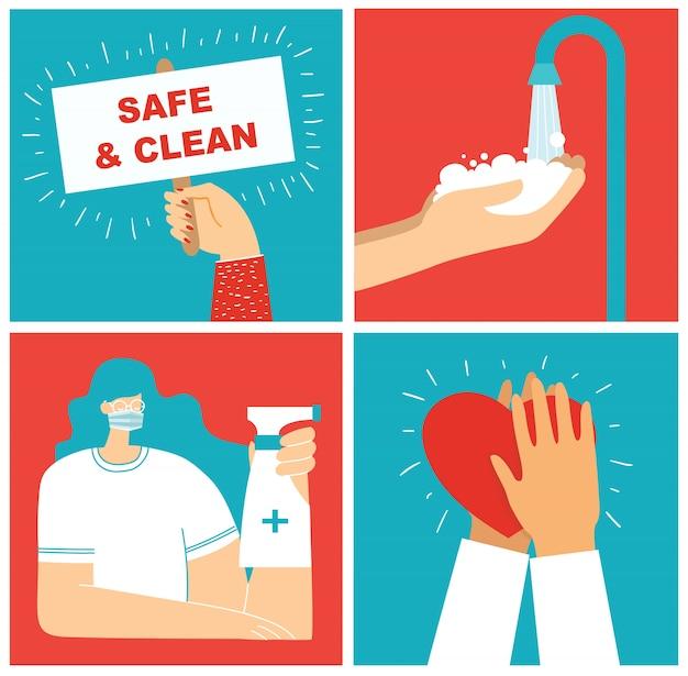 Satz poster mit sauber gewaschenen händen. mahlzeit vor viren geschützt. illustrationssatz für das gesundheitswesen. illustration im modernen flachen stil. corona-virenschutzkonzept. gesundheitsvorsorge.