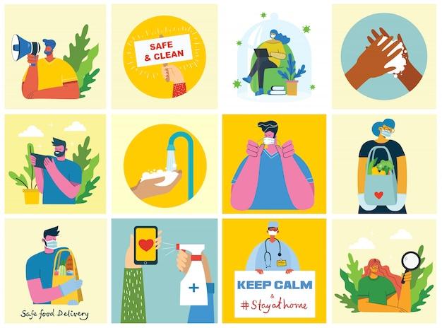 Satz poster mit sauber gewaschenen händen. mahlzeit vor viren geschützt. illustrationssatz für das gesundheitswesen. illustration im modernen flachen stil. corona-virenschutzkonzept.