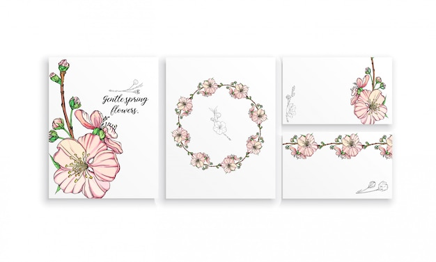 Satz postkarten mit empfindlichen frühlingsblumen