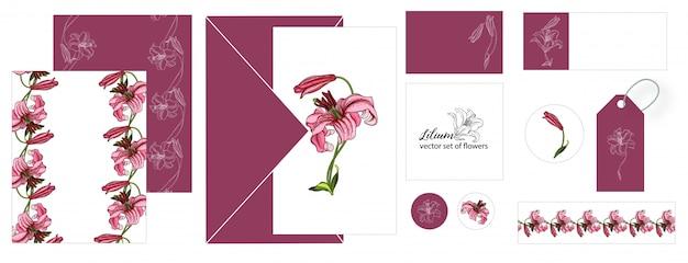 Satz postkarten mit lilienblumen