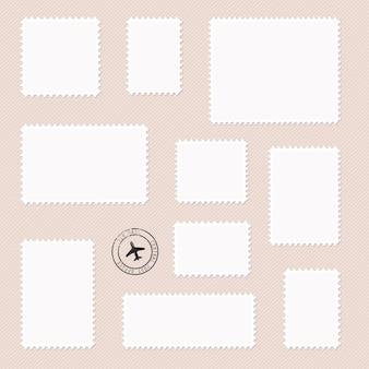 Satz poststempel unterschiedlicher größe in weiß