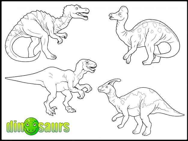 Satz prähistorischer dinosaurier