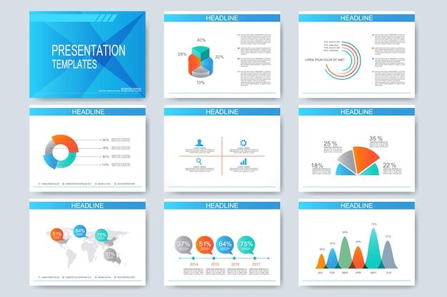 Satz präsentationsfolien für vorlagen. modernes geschäftsdesign mit grafik und diagrammen.