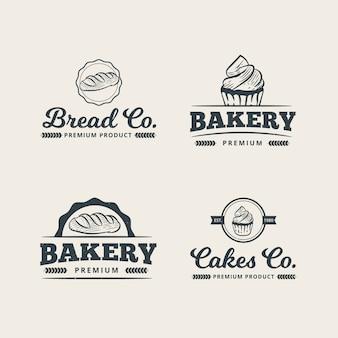 Satz professionelle bäckerei-logo-vorlage
